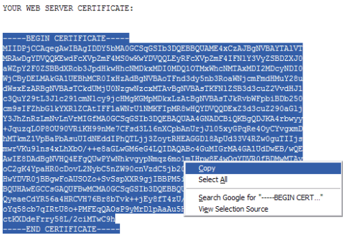 Copy the Certificate