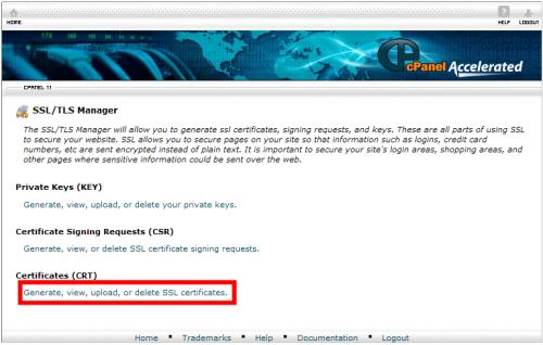 Click Generate, view, upload, or delete SSL certificates
