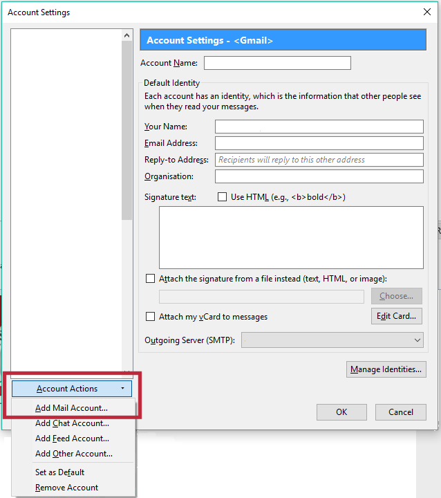 Click Account Actions > Add Mail Account