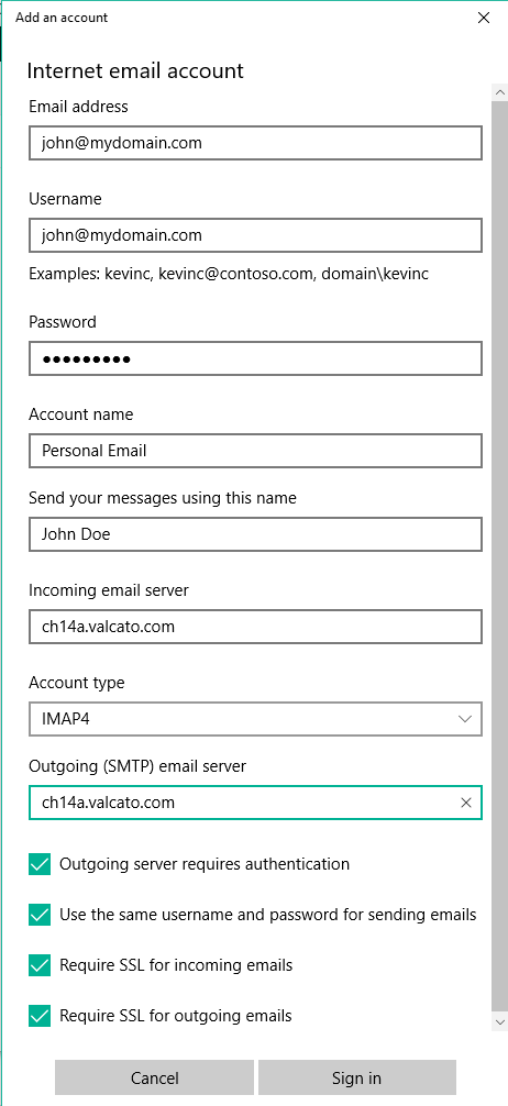 Complete the form per the Secure SSL/TLS Settings from cPanel